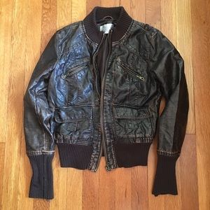 Xhilration brown pleather bomber jacket size med